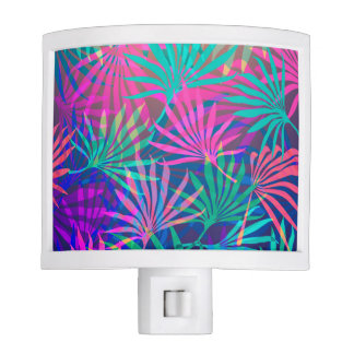 Colored Palm Leaves Background Night Light