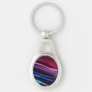 Colored Paper Abstract Silver-Colored Oval Metal Keychain