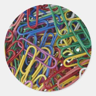 Colored paper clips classic round sticker