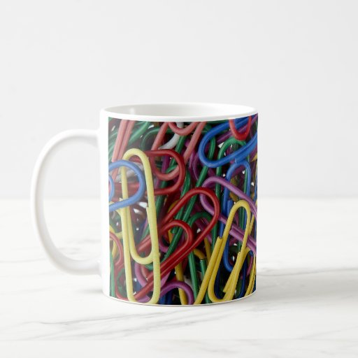 Colored paper clips mugs