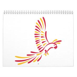 Colored parrot calendar