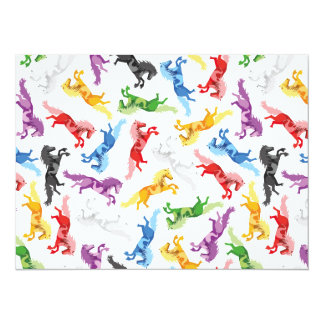 Colored Pattern jumping Horses Card