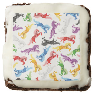 Colored Pattern jumping Horses Chocolate Brownie