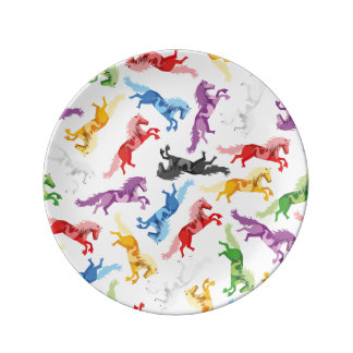 Colored Pattern jumping Horses Dinner Plate