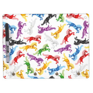 Colored Pattern jumping Horses Dry Erase Board With Keychain Holder