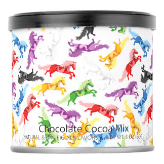Colored Pattern jumping Horses Hot Chocolate Drink Mix