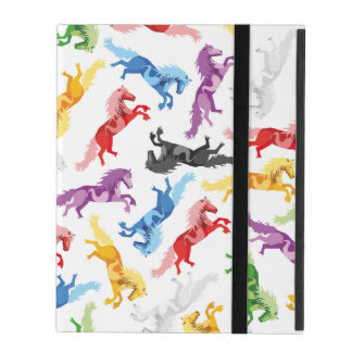 Colored Pattern jumping Horses iPad Case