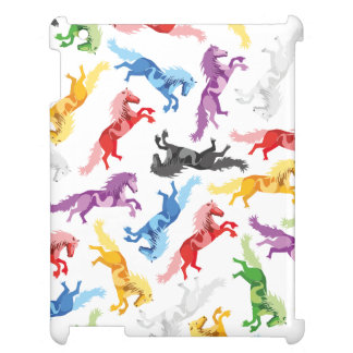 Colored Pattern jumping Horses iPad Cover
