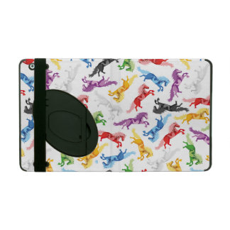 Colored Pattern jumping Horses iPad Folio Case