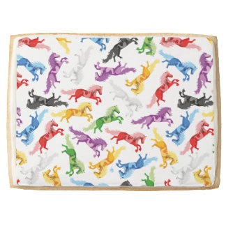 Colored Pattern jumping Horses Jumbo Shortbread Cookie