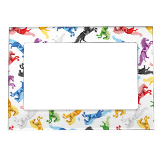 Colored Pattern jumping Horses Magnetic Photo Frame