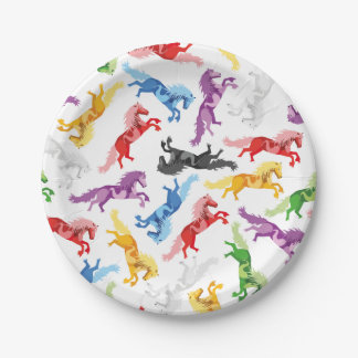 Colored Pattern jumping Horses Paper Plate