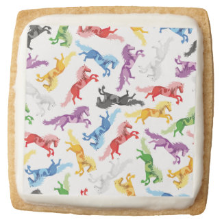 Colored Pattern jumping Horses Square Shortbread Cookie