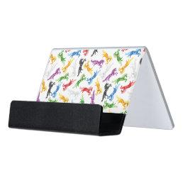 Colored Pattern Unicorn Desk Business Card Holder
