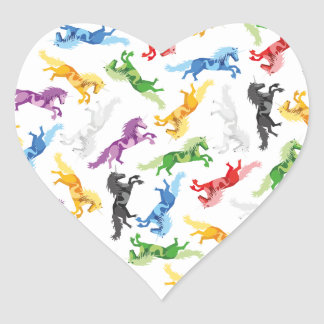 Colored Pattern Unicorn Heart Sticker