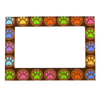 Colored Paws Magnetic Photo Frame