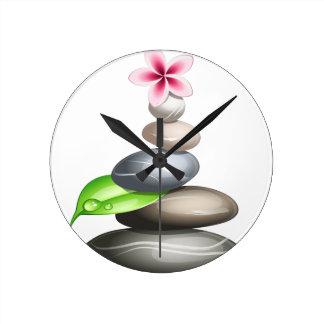 Colored pebbles round clock