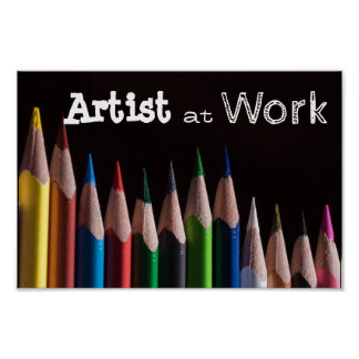 Colored Pencil Artist at Work Poster