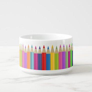 Beach Themed Colored Pencil Chorus Line Bowl
