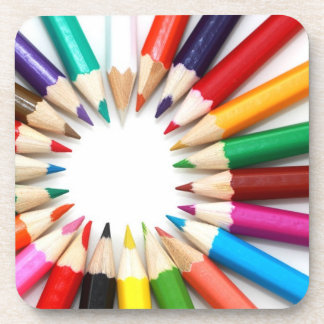 Colored Pencil Circle Cork Coaster