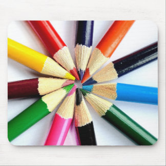 Colored Pencil Circle Mouse Pad