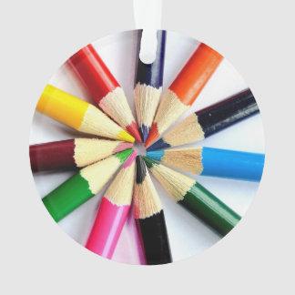 Colored Pencil Circle Ornament