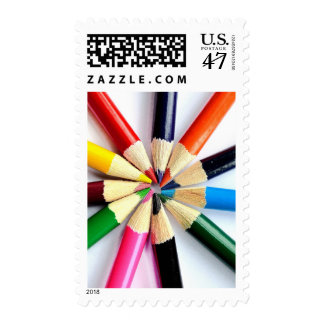 Colored Pencil Circle Postage