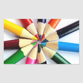 Colored Pencil Circle Rectangular Sticker