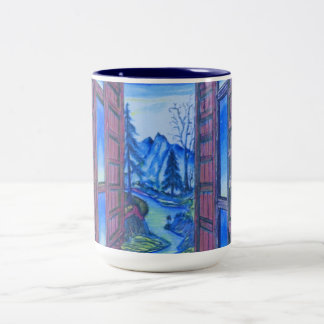 """Colored Pencil Drawings Two-Tone Coffee Mug"