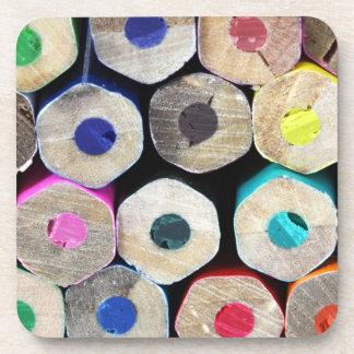 Colored Pencil Ends Cork Coasters