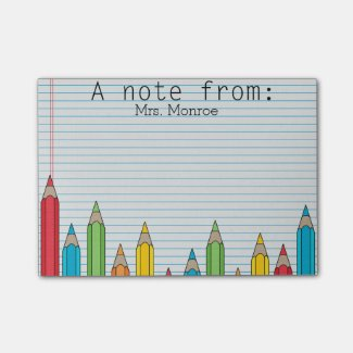 Colored Pencil Personalized Teacher Post It Note Post-it® Notes