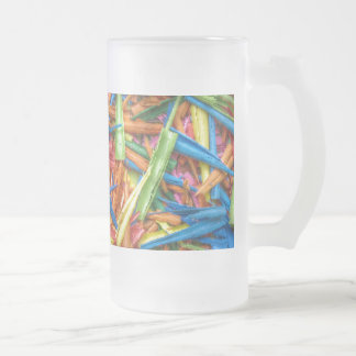 Colored Pencil Shavings 16 Oz Frosted Glass Beer Mug