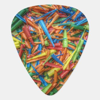 Colored Pencil Shavings Guitar Pick by StuffOrSomething at Zazzle