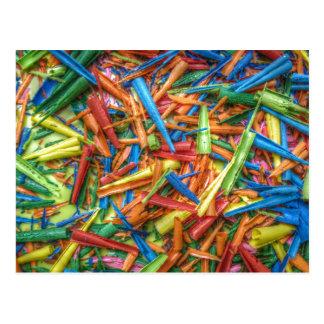 Colored Pencil Shavings Postcard
