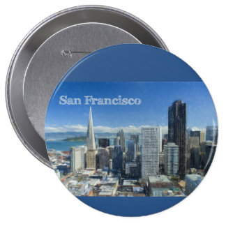 Colored Pencil Sketch of Downtown San Francisco 4 Inch Round Button