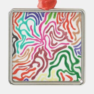 Colored Pencil Swirls Metal Ornament