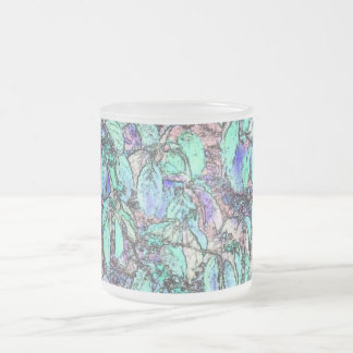 Colored Pencil Tree Leaves Frosted Glass Coffee Mug
