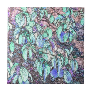 Colored Pencil Tree Leaves Tile