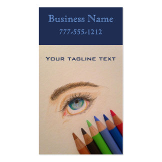 Colored Pencils and Eye Sketch Double-Sided Standard Business Cards (Pack Of 100)