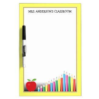 Colored Pencils & Apple Teacher Classroom Dry-Erase Board