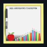 """Colored Pencils &amp; Apple Teacher Dry-Erase Board<br><div class=""""desc"""">This dry erase board features colored pencils and a red apple. Customizable text allows you to add the teacher&#39;s name. A perfect addition to any elementary school classroom.</div>"""