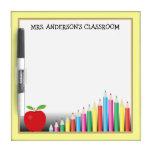 Colored Pencils & Apple Teacher Dry-Erase Boards