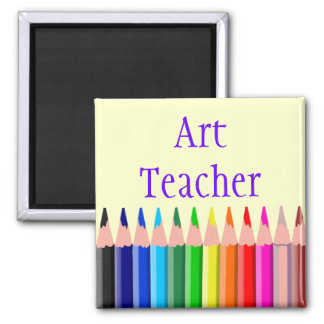 Colored Pencils Art Teacher 2 Inch Square Magnet