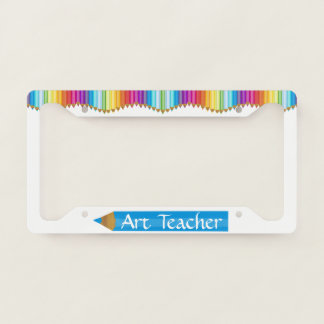 Colored Pencils Art Teacher License Plate Frame