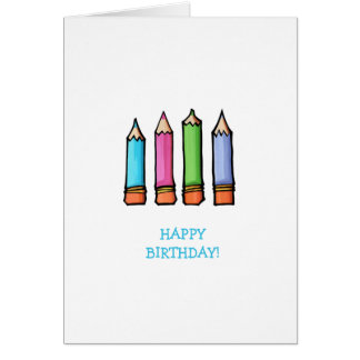 Colored Pencils Birthday Card