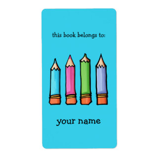 Colored Pencils blue Bookplate Label
