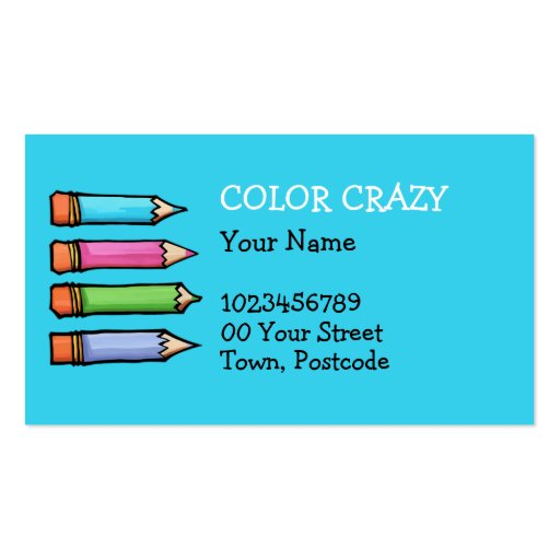 Colored Pencils blue Business Card