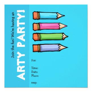 """Colored Pencils blue Party Invitation 5.25"""" Square Invitation Card"""