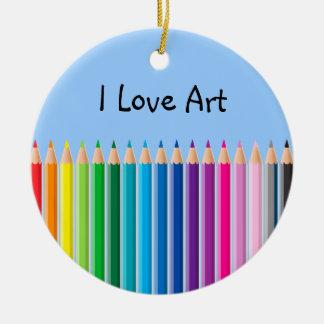 Colored Pencils Ceramic Ornament
