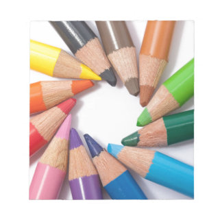 Colored pencils circle notepad